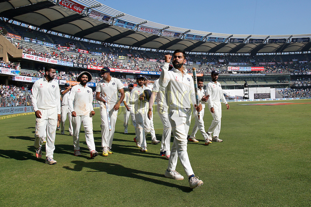 India celebrates the win over England during day 5 of the fourth test match between India and England held at the Wankhede Stadium, Mumbai on the 12th December 2016.<br /> <br /> Photo by: Deepak Malik/ BCCI/ SPORTZPICS