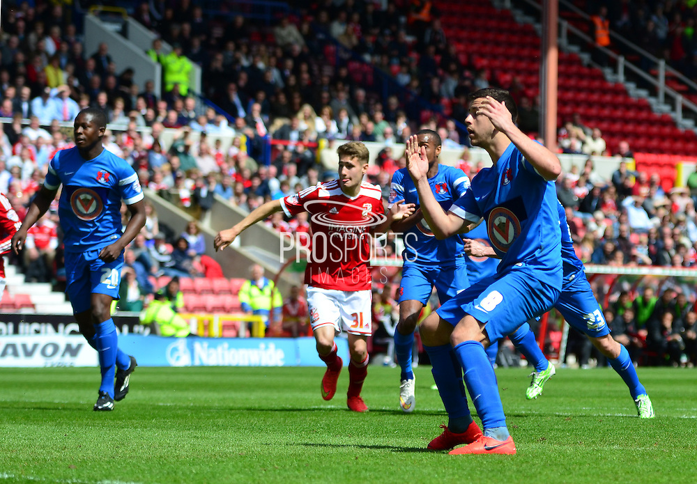 Lloyd James sees his penalty saved during the Sky Bet League 1 match between Swindon Town and Leyton Orient at the County Ground, Swindon, England on 3 May 2015. Photo by Alan Franklin.