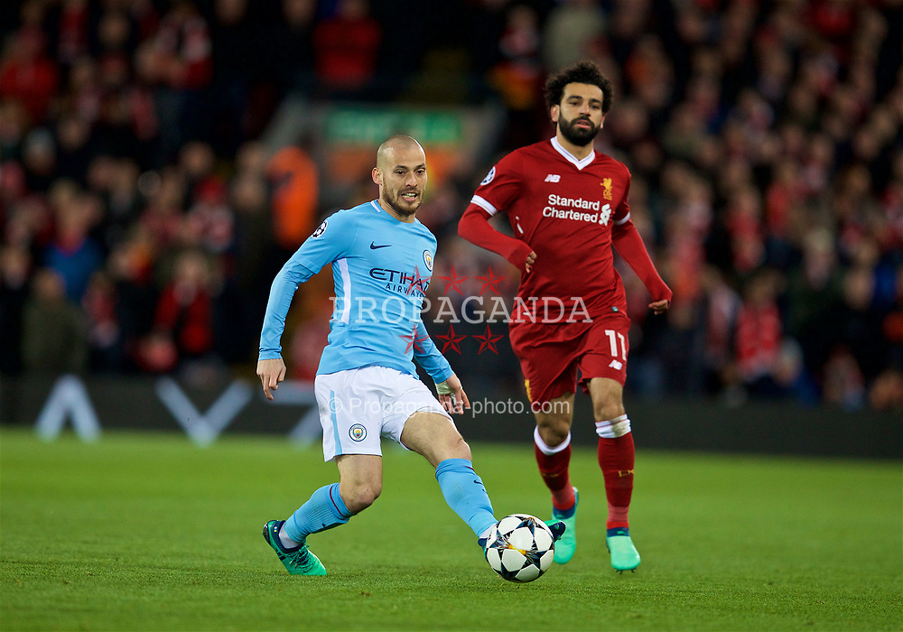 LIVERPOOL, ENGLAND - Wednesday, April 4, 2018: Manchester City's David Silva (left) and Mohamed Salah (right) during the UEFA Champions League Quarter-Final 1st Leg match between Liverpool FC and Manchester City FC at Anfield. (Pic by David Rawcliffe/Propaganda)