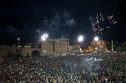 © licensed to London News Pictures. TRIPOLI, LIBYA  17/02/12. Fireworks explode over Martyrs' Square in Tropli, Libya, during celebrations commemorating the one year anniversary of the revolution. Please see special instructions for usage rates. Photo credit should read MICHAEL GRAAE/LNP