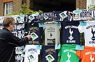 A Tottenham Hotspur fan takes photo's of memorabillia outside the stadium. English Premier League match at the White Hart Lane Stadium, London. Picture date: April 30th, 2017.Pic credit should read: Robin Parker/Sportimage