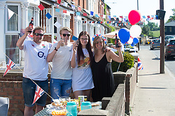 ©Licensed to London News Pictures 08/05/2020  <br /> Bexley, UK. The Hobbs family from Bexley Village, South East London. VE-Day 75th anniversary celebrations in coronavirus lockdown. People enjoy parties in their front gardens with family and neighbours as they observe social distancing. Photo credit:Grant Falvey/LNP