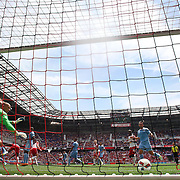 HARRISON, NEW JERSEY- JULY 24:  Ronald Zubar #23 of New York Red Bulls heads his sides second goal as he beats goalkeeper Josh Saunders #12 of New York City FC during the New York Red Bulls Vs New York City FC MLS regular season match at Red Bull Arena, Harrison, New Jersey on July 24, 2016 in Harrison, New Jersey. (Photo by Tim Clayton/Corbis via Getty Images)