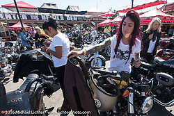 Iron Lily Sarah Furey at the Iron Horse Saloon after the Harley-Davidson Angels Ride to benefit the Nature Conservancy during the annual Sturgis Black Hills Motorcycle Rally.  SD, USA.  August 12, 2016.  Photography ©2016 Michael Lichter.