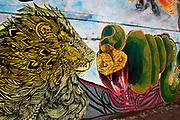 Egypt, Cairo 2014. Mohammed Maansour Street. Revolutionary grafitti of lion and snake