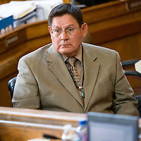 071713       Brian Leddy<br /> Lorenzo Bates listens to discussion on the renewal of the lease for the Navajo Generating Station.