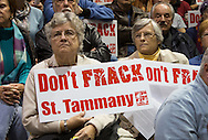 Nov. !2. 2014, Mandeville LA, Concerned citizens attend a drilling permit hearing at the Lakeshore High School gym. If the Drilling permit is approved by the Department of Natural Recourses, the state agency that regulates the oil and gas industry, fracking could start in St. Tammany Parish which is sits atop the the Tuscaloosa Marine Shale. The local government and community groups are challenging the hydraulic fracturing industry from drilling in in St. Tammany becuase with multiple lawsuits.