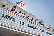 Charleston, United States. 31 May, 2020. The marquee on the American Theatre displays a message of love after protests over the death of George Floyd, turned violent and destructive May 31, 2020 in Charleston, South Carolina. Floyd was choked to death by police in Minneapolis resulting in protests sweeping across the nation.  Credit: Richard Ellis/Alamy Live News