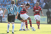 20111030: PORTO ALEGRE, BRAZIL - Football match between Gremio and  Flamengo teams held at the Sao januario. In picture Ronaldinho  Gaucho(Flamengo) and Gilberto Silva (Gremio)<br />