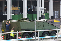 London, UK. 6th September, 2021. A military vehicle is pictured in a holding area outside ExCeL London as preparations for the DSEI 2021 arms fair take place. The first day of week-long Stop The Arms Fair protests outside the venue for one of the world's largest arms fairs was hosted by activists calling for a ban on UK arms exports to Israel.