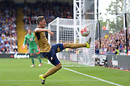 Mesut Ozil of Arsenal attempts to control the ball. Barclays Premier league match, Crystal Palace v Arsenal at  Selhurst Park in London on Sunday 16th August 2015.<br /> pic by John Patrick Fletcher, Andrew Orchard sports photography.