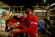 Italy, Voghera, Cowboys ranch:  get ready and warm-up for the show  .Cowboys show and contest.