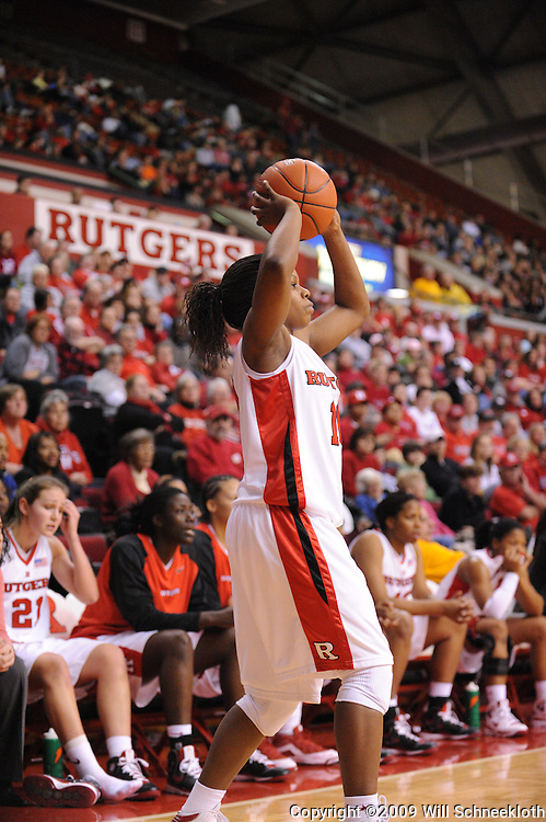Jan 31, 2009; Piscataway, NJ, USA; Rutgers guard Epiphanny Prince (10) looks for an open pass during the second half of South Florida's 59-56 victory over Rutgers in NCAA women's college basketball at the Louis Brown Athletic Center