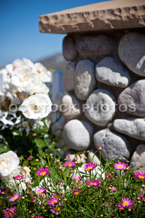 Landscape With Cobblestone Pillars With Plants