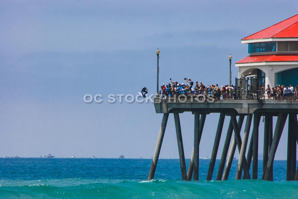 Man Jumping off Huntington Beach Pier