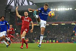 10th December 2017 - Premier League - Liverpool v Everton - Dominic Calvert-Lewin of Everton leapsto control the ball as Jordan Henderson of Liverpool appeals - Photo: Simon Stacpoole / Offside.