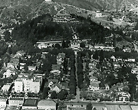 1925 Looking north at the Magic Castle, Bernheimer Estate (now Yamashiro Restaurant) and the Hollywood Hills