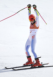 February 15, 2018 - Pyeongchang, South Korea - MIKAELA SHIFFRiN of the United States at the finish line of the Womens Giant Slalom event Thursday, February 15, 2018 at the Yongpyang Alpine Center at the Pyeongchang Winter Olympic Games. Shiffrin took the gold. Photo by Mark Reis, ZUMA Press/The Gazette (Credit Image: © Mark Reis via ZUMA Wire)