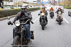 Nick Toscano on a ride around Tokyo with friends of the Freewheelers And Company shop. Tokyo, Japan. December 8, 2015.  Photography ©2015 Michael Lichter.