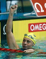 Svømming. Kortbane-VM 2002. Moskva. 06.04.2002.<br /> Emma Igelström, Sverige.<br /> Foto: Sören Andersson, Digitalsport