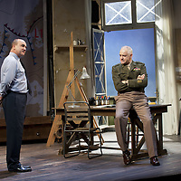 """The Lyceum present the World Premiere of Pressure<br /> By David Haig<br /> <br /> Picture shows : David Haig – Group Captain Dr. James Stagg (l) and Malcolm Sinclair – General Dwight D """"Ike"""" Eisenhower ( right )<br /> <br /> <br /> Picture : Drew Farrell<br /> Tel : 07721 -735041<br /> www.drewfarrell.com<br /> Directed by John Dove<br /> A co-production with Chichester Festival Theatre<br /> June 1944. One man's decision is about to change the course of history.<br /> <br /> Cast<br /> David Haig – Group Captain Dr. James StaggLaura Rogers – Kay SummersbyRobert Jack – AndrewAnthony Bowers – Lieutenant Battersby/ Captain JohnsScott Gilmour – Young Naval RatingMalcolm Sinclair – General Dwight D """"Ike"""" EisenhowerTim Beckmann – Colonel Irving P. KrickMichael Mackenzie – Electrician/Admiral Bertram """"Bertie"""" RamsayAlister Cameron – Air Chief Marshall Sir Trafford Leigh-MalloryGilly Gilchrist – General """"Tooey"""" Spaatz/Commander Franklin<br /> Creative Team<br /> Director - John DoveDesigner - Colin RichmondLX Designer - Tim MitchellDeputy LX Designer - Guy JonesComposer/Sound Design - Philip PinskyVideo Designer - Andrzej Goulding<br /> An intense real-life thriller centred around the most important weather forecast in the history of warfare.Scottish meteorologist, Group Captain James Stagg, the son of a Dalkeith plumber, must advise General Eisenhower on when to give the order to send thousands of waiting troops across the Channel in Operation Overlord.In what became the most volatile period in the British Isles for over 100 years, the future of Britain, Europe and our relationship with the United States, rested on the shoulders of one reluctant Scotsman.<br /> Pressure is the extraordinary and little known story of a Scot who changed the course of war, and our lives, forever.David Haig is a four time nominee and Olivier Award winning actor best known for his roles in the film Four Weddings and a Funeral , TV series The Thin Blue Line and stage production The Madness of """