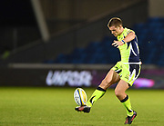 Sale Sharks stand-off AJ McGinty chips the ball during the The Aviva Premiership match Sale Sharks -V- London Irish  at The AJ Bell Stadium, Salford, Greater Manchester, England on September 15, 2017. (Steve Flynn/Image of Sport)
