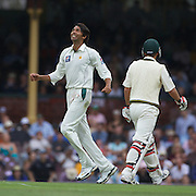 Mohammad Asif celebrates hit fifth wicket after bowling Nathan Hauritz  during the Australia V Pakistan 2nd Cricket Test match at the Sydney Cricket Ground, Sydney, Australia, 3 January 2010. Photo Tim Clayton