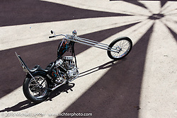 Maui, HI custom bike builder Noah O'Geen's panhead chopper at the Buffalo Chip during the Annual Sturgis Black Hills Motorcycle Rally.  SD, USA.  August 7, 2016.  Photography ©2016 Michael Lichter.