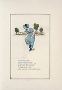 Little Betty Blue, Lost her holiday shoe. What will poor Betty do? Why, give her another, To match the other, And then she will walk in two. from the book Mother Goose : or, The old nursery rhymes by Kate Greenaway, Engraved and Printed by Edmund Evans published in 1881 by George Routledge and Sons London nad New York