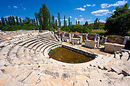 Roman Odeon Theatre of  Aphrodisias Archaeological site, Turkey .<br /> <br /> If you prefer to buy from our ALAMY PHOTO LIBRARY  Collection visit : https://www.alamy.com/portfolio/paul-williams-funkystock/aphrodisias-site-turkey.html<br /> <br /> Visit our TURKEY PHOTO COLLECTIONS for more photos to download or buy as wall art prints https://funkystock.photoshelter.com/gallery-collection/3f-Pictures-of-Turkey-Turkey-Photos-Images-Fotos/C0000U.hJWkZxAbg