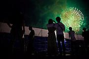 Festival crowds at the Yodogawa Fireworks Festival, Osaka 2013