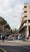 Modern apartments and street city centre of Ceuta, Spanish territory in north Africa, Spain
