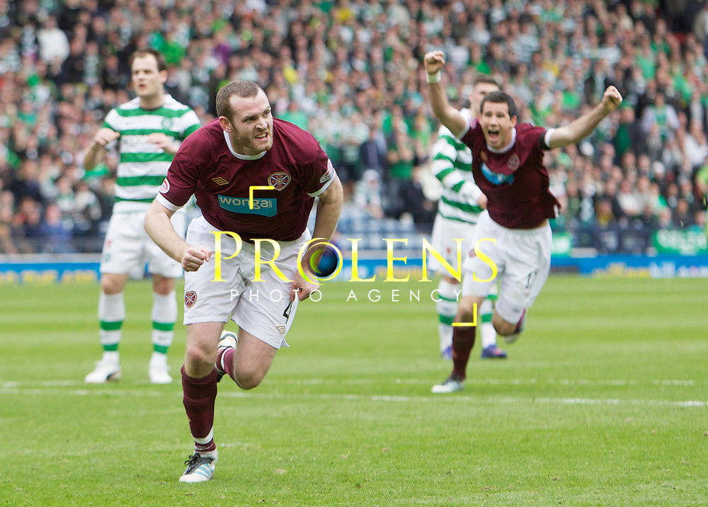 William Hill Scottish FA Cup Semi Final CELTIC FC v HEART OF MIDLOTHIAN FC Season 2011-12.15-04-12...HEARTS CRAIG BEATIE CELEBRATES MAKING IT 2-1 FOR HEARTS   during the William Hill Scottish FA Cup Semi Final tie between CELTIC FC and HEART OF MIDLOTHIAN FC with the Winner facing   in this years Scottish Cup Final in May...At Hampden Park Stadium , Glasgow..Sunday 15th April 2012.Picture Mark Davison/ Prolens Photo Agency / PLPA