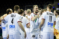 Julius Kuehn and other players of Germany celebrate after winning during handball match between National Teams of Algeria and Germany at Day 3 of IHF Men's Tokyo Olympic  Qualification tournament, on March 14, 2021 in Max-Schmeling-Halle, Berlin, Germany. Photo by Vid Ponikvar / Sportida