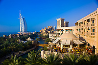 View from the Al Qasr Hotel, part of the Madinat Jumeirah resort complex, with the Burj al Arab Hotel in the background, Dubai, United Arab Emirates