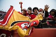 San Francisco 49ers fans celebrate a win over the Jacksonville Jaguars at Levi's Stadium in Santa Clara, Calif., on December 24, 2017. (Stan Olszewski/Special to S.F. Examiner)