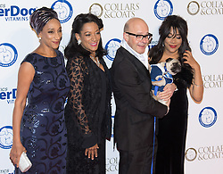 """Battersea, London, November 3rd 2016.  Celebrities and their dogs attend The Evolution at Battersea Park to attend The Battersea Dogs and Cats Home """"Collars and Coats Ball"""". PICTURED: Sister Sledge and Harry Hill"""
