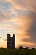 Broadway Tower on Broadway Hill at sunset, Broadway, England, UK