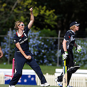 Charlotte Edwards the England Captain bowling during the match between England and New Zealand in the Super 6 stage of the ICC Women's World Cup Cricket tournament at Bankstown Oval, Sydney, Australia on March 14 2009, England won the match by 31 runs. Photo Tim Clayton