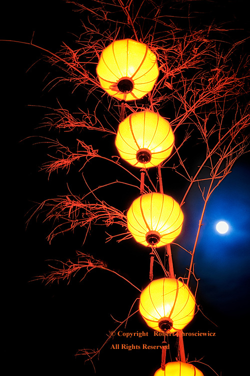 Full Moon Lanterns: Under a full moon, lanterns make for a most unusual red effect, Hoi An Vietnam.
