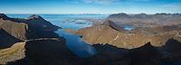 Rugged mountain landscape viewed from summit of Kroktind (707m), Austvagoy, Lofoten Islands, Norway