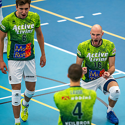 Jasper Diefenbach #16 of Orion celebrate during the supercup final between Amysoft Lycurgus - Active Living Orion on October 04, 2020 in Van der Knaaphal, Ede