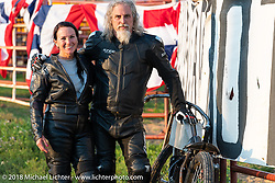 Roxie and Mark Hannah at the Spirit of Sturgis antique motorcycle flat track race at the historic Sturgis Half Mile during the 78th annual Sturgis Motorcycle Rally. Sturgis, SD. USA. Monday August 6, 2018. Photography ©2018 Michael Lichter.