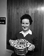 """Seafood Cook in Rosslare 07/05/1976.05/07/1976.7th May 1976.Miss Yvonne Cooney, (15 years), Dominican Convent, Muckross Park Dublin, winner of the competition with her dish """" Cod Pancake Casserole""""."""