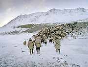 """Wakhi winter shepherds known as """"Shpunds"""" in their settlement of Kher Metek, on the edge of the Little Pamir. They often look over Kyrgyz sheep and yak herds for payment in animals. .Winter expedition through the Wakhan Corridor and into the Afghan Pamir mountains, to document the life of the Afghan Kyrgyz tribe. January/February 2008. Afghanistan"""
