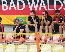 02.07.2015, Lindenstadion, Hippach, GER, FS Vorbereitung, VfB Stuttgart vs Zillertal Auswahl, im Bild VfB Praesident Bernd Wahler (VfB Stuttgart) sitzt auf der Tribuene und ist gut gelaunt lacht // during a Friendly Match between VfB Stuttgart and Zillertal Auswahl at the Lindenstadion in Hippach, Germany on 2015/07/02. EXPA Pictures © 2015, PhotoCredit: EXPA/ Eibner-Pressefoto/ Fudisch<br /> <br /> *****ATTENTION - OUT of GER*****