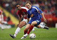 Photo: Rich Eaton.<br /> <br /> Bristol City v Crewe Alexander. Coca Cola League 1. 14/10/2006. David Vaughan right of Crewe tries to keep Bristols goalscorer Scott Murray at bay