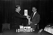 "17/12/1962<br /> 12/17/1962<br /> 17 December 1962<br /> Presentation of Packaging Awards at the Shelbourne Hotel, Dublin. Leo (Ireland) Ltd. had won the ""Eurostar"" international award for packaging. Picture shows Mr. W.H. Walsh, General Manager of Coras Tractala and chairman of the Irish Packaging Institute, presenting the award to Mr. B. Schou Lund, Managing Director of Leo (Ireland) Ltd. at the event."