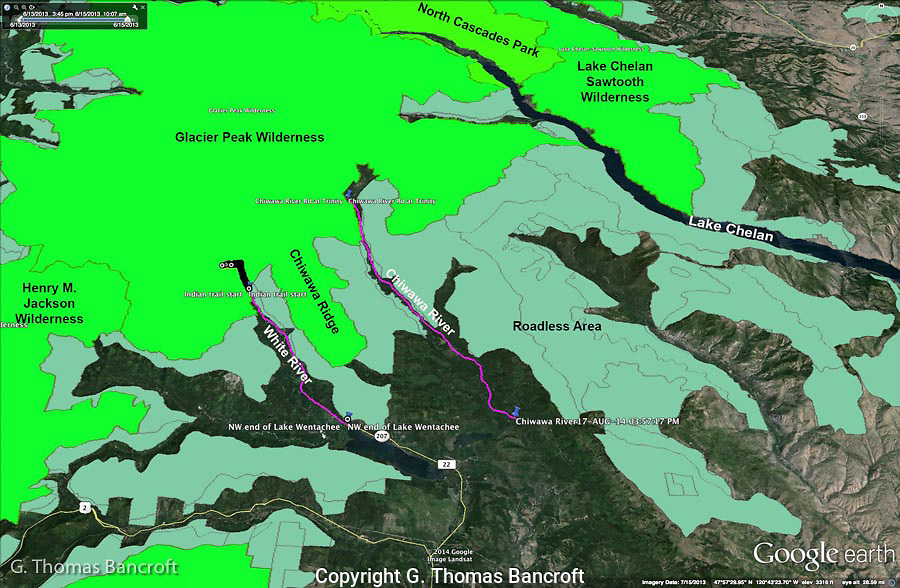 The White and Chiwawa River valleys are access corridors into Glacier Peak Wilderness. Designated wilderness are shown in light green and Inventoried Roadless Areas are shown in gray-green.