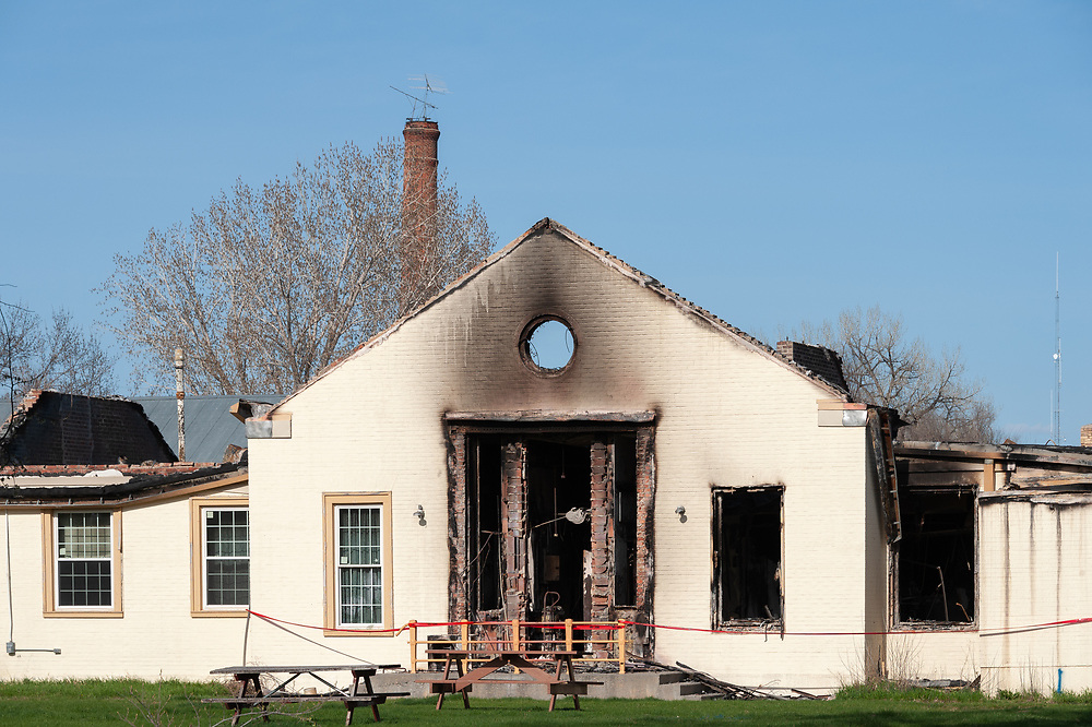 Crow Tribe Executive Branch Administrative Offices in Crow Agency which was destroyed by fire, March 21, 2019, but which was vacant at the time and slated for demolition.